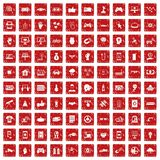 100 hi-tech icons set grunge red. 100 hi-tech icons set in grunge style red color isolated on white background vector illustration Stock Image