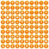 100 hi-tech icons set orange. 100 hi-tech icons set in orange circle isolated on white vector illustration stock illustration