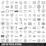 100 hi-tech icons set, outline style. 100 hi-tech icons set in outline style for any design vector illustration Stock Image