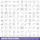100 hi-tech icons set, outline style. 100 hi-tech icons set in outline style for any design vector illustration Royalty Free Stock Photography