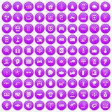 100 hi-tech icons set purple. 100 hi-tech icons set in purple circle isolated on white vector illustration Royalty Free Stock Image