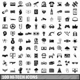 100 hi-tech icons set, simple style. 100 hi-tech icons set in simple style for any design vector illustration royalty free illustration