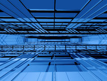 Hi-tech interior space. Blue 3d spatial orthogonal grating structure in perspective Royalty Free Stock Photos