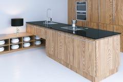 Hi-tech kitchen interior design with white flooring 3d render Royalty Free Stock Image