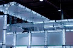 Hi-tech luminous construction. Building fluoriscent geometric lightbox Stock Photos
