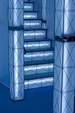 Hi-tech luminous construction. Building fluoriscent geometric lightbox Stock Image
