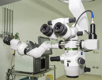 Hi-tech microscope in an operating room Stock Photo