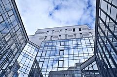 Hi-tech modern background. Modern background with elements of architecture of glass and metal Royalty Free Stock Image