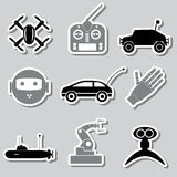 Hi-tech modern technology toys simple stickers collection eps10 Stock Photos