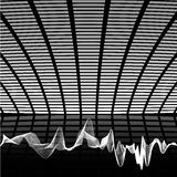 Hi tech music wallpaper. Abstract black and white hi tech music composition, with sound wave Royalty Free Stock Photo