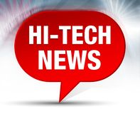 Hi-tech News Red Bubble Background. Hi-tech News Isolated on Red Bubble Background royalty free illustration