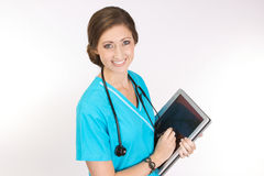 Hi-tech Nurse with tablet PC Stock Photography