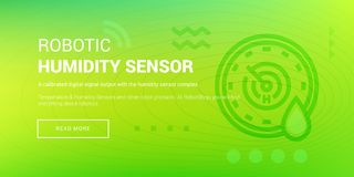 Hi-tech Robotic Humidity Sensor. Vector illustration of banner with hi-tech robotic humidity sensor icon on green background Stock Image