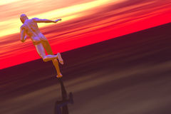 Hi tech runner and red sky Royalty Free Stock Photography