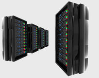 Hi tech servers. A 3d illustration of high tech servers on an isolated background Royalty Free Stock Image