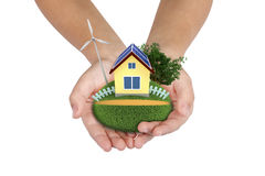 Hi-Tech  settlement in your hands Stock Photo