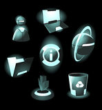 Hi-tech space icons. Hi-tech space light icons. Vector illustration Stock Photos