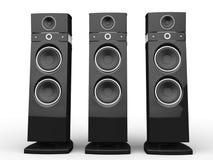 Hi-tech speakers - black Stock Photography