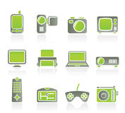 Hi-tech technical equipment icons Stock Photos