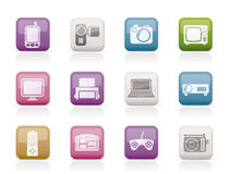 Hi-tech technical equipment icons Royalty Free Stock Photography