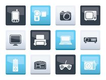 Hi-tech technical equipment icons over color background. Vector icon set royalty free illustration