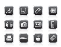 Hi-tech technical equipment icons Stock Photo
