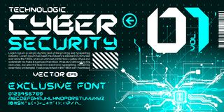 Hi-tech Techno font trance style lettering circuits. Custom font modern fresh lettering Stock Images