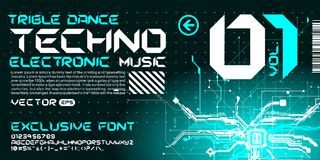 Hi-tech Techno font trance style lettering circuits. Custom font modern fresh lettering Stock Photo