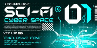 Hi-tech Techno font trance style lettering circuits. Custom font modern fresh lettering Stock Photos