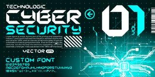 Hi-tech technology absract background cyberpunk sci-fi style. Custom font future space design Royalty Free Stock Photo