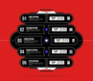 Hi-tech template with five options in black and red techno style. On flat vibrant background Stock Photography