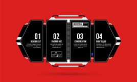 Hi-tech template with four options in black and red techno style. On flat vibrant background Royalty Free Stock Images