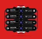 Hi-tech template with four options in black and red techno style. On flat vibrant background Stock Image