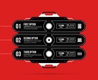 Hi-tech template with three options in black and red techno style. On flat vibrant background Stock Photography