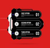 Hi-tech template with three options in black and red techno style. On flat vibrant background Stock Images