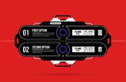 Hi-tech template with two options in black and red techno style. On flat vibrant background Stock Photography