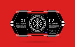 Hi-tech template with two options in black and red techno style. On flat vibrant background Royalty Free Stock Photo