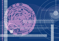 Hi-tech template. Vector illustration of a background template with technical drawing of geometric shapes in blue, white and lilac. Vector file layered for your Royalty Free Stock Photography