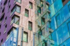 Hi-tech window exterior texture. Reflections on glass stock photo
