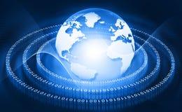 Hi-tech world technological background. Binary stream Stock Photo