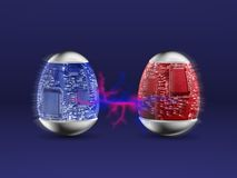 Hi technology Easter eggs. With flush effect Stock Images