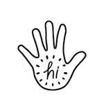 Hi on white hand illustration Stock Images