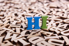 Hi word made of wooden letters Royalty Free Stock Images