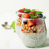 Сhia seeds vanilla pudding and berries on wooden rustic backgr Stock Image