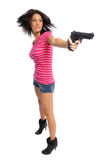 Hiar flip gun girl. Hispanic woman with a gun showing hair fly on a white background Royalty Free Stock Photo