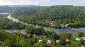 Hiawassee River in Reliance, Tennessee. A Panoramic view of the Hiawassee River, well known for fishing, boating, and rafting Stock Photography