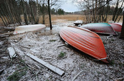 Hibernating boats. Winter landscape with frosted boats Stock Image