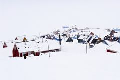 Hibernation - Ittoqqortoormiit, the remotest village of Greenland royalty free stock photography