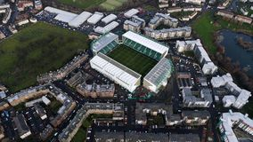 Hibernian FC Easter Road Football Stadium Aerial View. Edinburgh, UK - DECEMBER 23 : Hibernian FC Easter Road Football Stadium on December 23, 2017. Flying Over royalty free stock photo