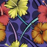 Hibisco abstracto del fondo de las flores inconsútil stock de ilustración